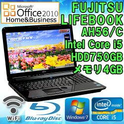 MicrosoftOffice2010H&B付き中古ノートパソコン富士通LIFEBOOKAH56/CWindows7Corei52520M2.50GHzメモリ4GBHDD750GB15.6型ワイドWXGA(1366×768)無線LAN内蔵テンキーHDMIブルーレイドライブ初期設定済送料無料(一部地域を除く)