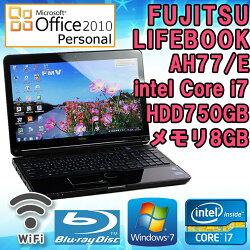MicrosoftOffice2010付き中古ノートパソコン富士通LIFEBOOKAH77/EシャイニーブラックWindows7Corei72670QM2.2GHzメモリ8GBHDD750GB15.6型ワイドWXGA(1366x768)無線LAN内蔵テンキーHDMIブルーレイドライブ送料無料(一部地域を除く)