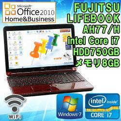 MicrosoftOffice2010H&B付き中古ノートパソコン富士通LIFEBOOKAH77/HWindows7Corei73610QM2.3GHzメモリ8GBHDD750GB15.6型ワイドWXGA(1366x768)無線LAN内蔵テンキーHDMIブルーレイドライブ送料無料(一部地域を除く)