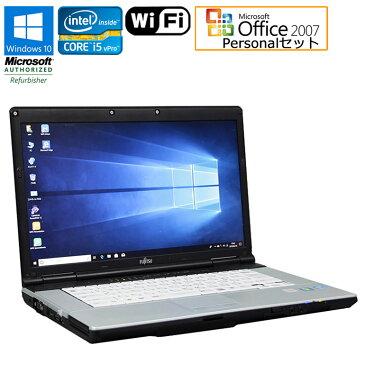 Microsoft Office Personal 2007セット【中古】 ノートパソコン 富士通(FUJITSU) LIFEBOOK E742/E Windows10 Pro 64bit 15.6インチ(フルHD 1920×1080) Core i5vPro 3320M 2.60GHz メモリ4GB HDD250GB DVD-ROM HDMI 無線LAN SDスロット 初期設定済