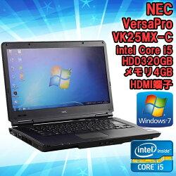 【中古】ノートパソコンNECVersaProVK25MX-CWindows715.6型ワイド(1366×768)Corei52520M2.50GHzメモリ4GBHDD250GB【WPSOffice付】HDMI端子DVDマルチ初期設定済送料無料(一部地域を除く)
