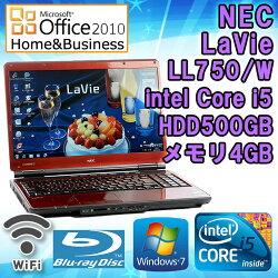 MicrosoftOffice2010H&B付き【中古】ノートパソコンNECLaVieLL750/WWindows715.6インチ(WXGA1366×768)Corei5M4302.26GHzメモリ4GBHDD500GBブルーレイドライブ無線LAN内蔵HDMI端子テンキー搭載初期設定済送料無料(一部地域を除く)
