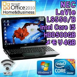 MicrosoftOffice2010H&B付き【中古】ノートパソコンNECLaVieLS550/BWindows715.6インチ(WXGA1366×768)Corei5M4502.4GHzメモリ4GBHDD500GBDVDマルチドライブ無線LAN内蔵HDMI端子テンキー搭載初期設定済送料無料(一部地域を除く)