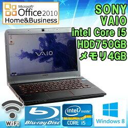 MicrosoftOffice2010H&B付き【中古】ノートパソコンSONYVAIOSVE14A28CJBWindows814型ワイド(1366×768)IntelCorei53210M2.1GHzメモリ4GBHDD750GB無線LAN内蔵HDMI端子ブルーレイドライブ初期設定済