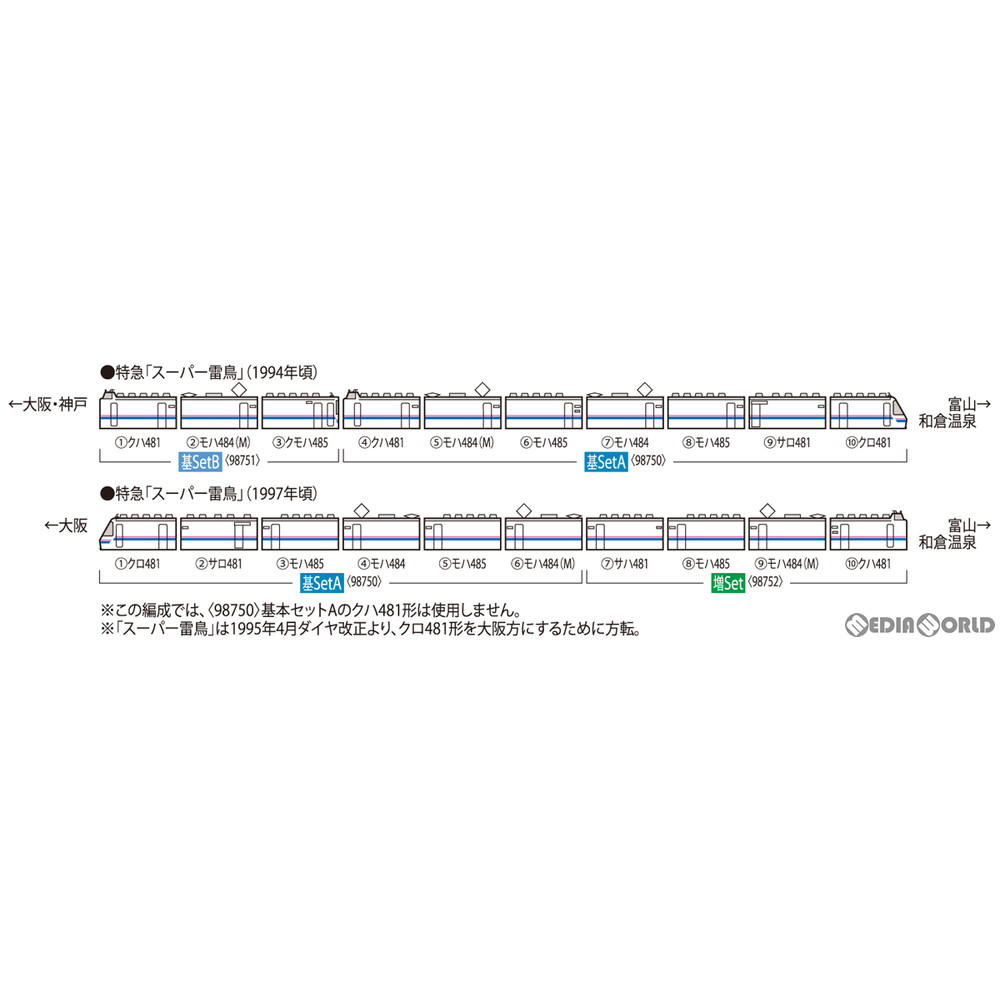 【予約安心発送】[RWM]98750 JR 485系特急電車(スーパー雷鳥) 基本セットA(7両)(動力付き) Nゲージ 鉄道模型 TOMIX(トミックス)(2021年10月)