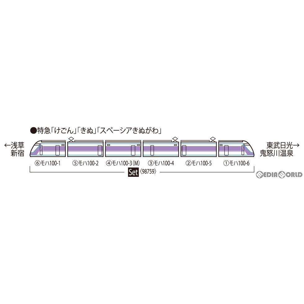 【予約安心発送】[RWM]98759 東武100系スペーシア(雅カラー)セット(6両)(動力付き) Nゲージ 鉄道模型 TOMIX(トミックス)(20211023)