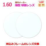 持ち込みフレームのレンズ交換 コンフル160 薄型 球面設計 国内メーカー 一般眼鏡レンズ イトーレンズ製 2枚1組 UVカット マルチコート 汚れに強い撥水コート
