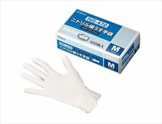 ダンロップ 粉なしニトリル極うす手袋 白 NS470 M(100枚入) メイチョー