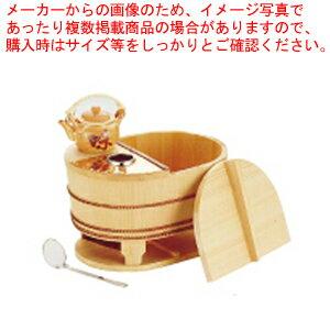 サワラ小判型湯ドーフセット(炭用) US-1025 4〜5人用【 湯豆腐鍋 】 【メイチョー】