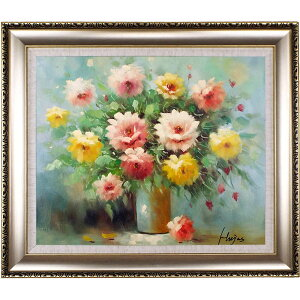 Flower painting Oil Painting Art Panel Opening Celebration Opening Celebration Rose Framed Oil Painting No. 20 (Approx. 75cm x 65cm) The high-class feeling of a fashionable wall-mounted oil painting is itself. Recommended popular interior painting to decorate the entrance, room and living room! [Complete hand-painted oil painting / free shipping]