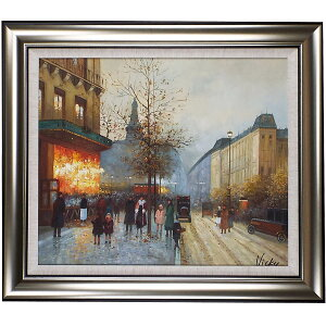 Painting by Paris Oil Painting Art Panel Opening Celebration Opening Celebration City of Paris Framed Oil Painting No. 20 (Approximately 75 cm x 65 cm) The high-class feeling of a stylish wall-mounted oil painting is itself. Recommended popular interior painting to decorate the entrance, room and living room! [Complete hand-painted oil painting / free shipping]