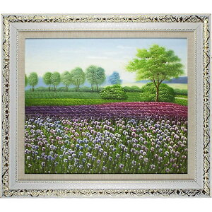 Landscape painting Oil Painting Art Panel Opening Celebration Opening Celebration Lavender Flower Field Framed Oil Painting No. 20 (Approximately 65 cm x 75 cm) The high-class feeling of a stylish wall-mounted oil painting is itself. Recommended popular interior painting to decorate the entrance, room and living room! [Complete hand-painted oil painting / free shipping]