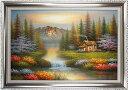 風景の絵 絵画 油絵 アートパネル開業祝い 開院祝い「癒しの風景」額入り油絵20号(額約75cm×6