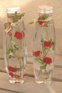 ハーバリウム・リトルマーベル・バラ*ガラスボトルの中で、お花や実物が揺らめいているハーバリウム。シンプルにバラとかすみ草で。/お祝い/花電報/告白/プロポーズ/結婚祝い/インテリア//内祝/自宅用/プチギフト/お返し/引出物/父の日ギフト/父の日