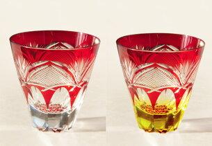 ロックグラスプレミアム万華鏡切子-赤・赤アンバー