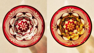 ロックグラスプレミアム万華鏡切子-赤ロックグラスプレミアム万華鏡切子-赤・赤アンバー