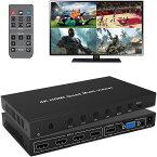 ES-Tune HDMI画面分割器 マルチビューワー 4K対応 4入力2出力 HDMI VGA ビデオ分配器 音声分離器 音声出力チャンネル切替可能 日本語取扱説明書付
