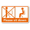 座りション ステッカー 立たないでジョ?!!(オレンジ) 立ちション禁止ウォールステッカー トイレ 座って 座る マナー シール トイレステッカー【メール便送料無料】