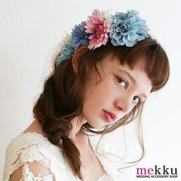 かすみ草 ブルーフラワーヘッドドレス/青[fc197b]結婚式 ウェディング 髪飾り 花飾り