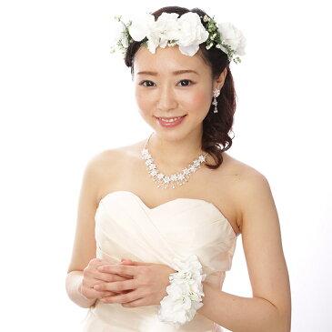 【花冠,リストブーケSET】あじさいのホワイトクラウンセット[fc101]