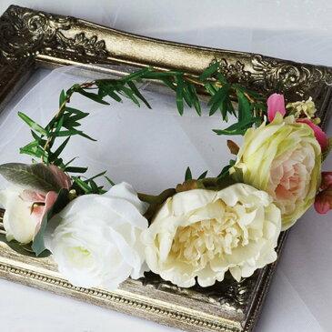 【花冠・花かんむり】ホワイトグリーンのフラワークラウン[fc014]