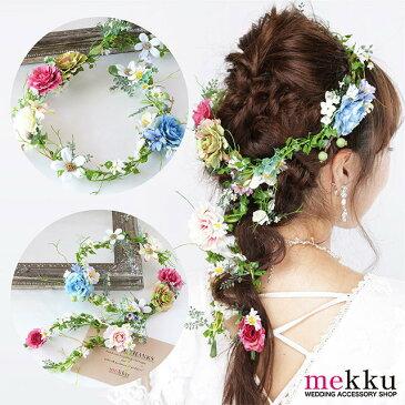 【花冠・花かんむり】フラワークラウンガーランド[fc182]グリーン ホワイト/結婚式 ウェディング