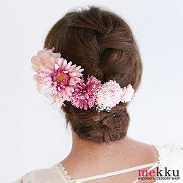かすみ草とピンクフラワーヘッドドレス[fc197pk]ウェディング 髪飾り 花飾り