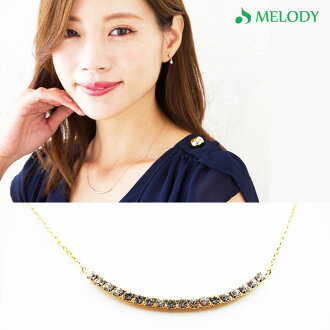Round rhinestone necklace (OP-218) [pink gold] [comfortable ギフ _ 【 アクセ 】]