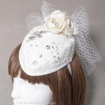 【ヘアアクセサリー コサージュ ヘッドドレス】ローズとビジューのプチハット・カチューシャ[hf1120]/ミーミー【コスプレ】結婚式 ウェディング パーティー 衣装にも♪