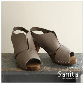 sanita 【サニタ 】デザインカットレザー ウッドヒールサンダル(sanita_453208_)【select-shop】【楽ギフ_包装】【あす楽対応_関東】【11C03】