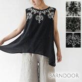 【BARNDOOR バーンドア】コットン フラワー 刺繍 Aライン ノースリーブ ブラウス(1142031k)