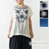 【BARNDOOR バーンドア】コットン 花 刺繍 裾タック ブラウス(1142040k)