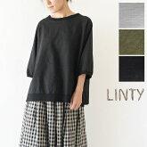 【LINTY リンティー】コットン リネン キャンバス 2way プルオーバー ブラウス(019522)
