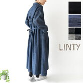 【LINTY リンティー】コットン リネン バック プリーツ コート ワンピース(019523)