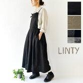 【LINTY リンティー】コットン リネン エプロン タック ワンピース(019525)