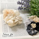 【SAWA サワ】綿麻 × パール フラワーモチーフ ブローチ