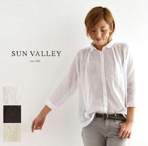 【SUN VALLEY サンバレー】ボイル ギャザー  8分袖 シャツ