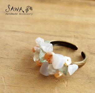 【SAWA サワ】淡水パール と 天然石 の リング