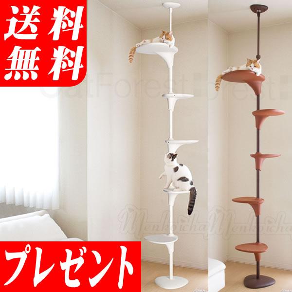 OPPOキャットフォレストホワイト/ブラウン 商品券プレゼント 省スペース&突っ張り式のスリムでおしゃれなキャットタワー猫・ネコ