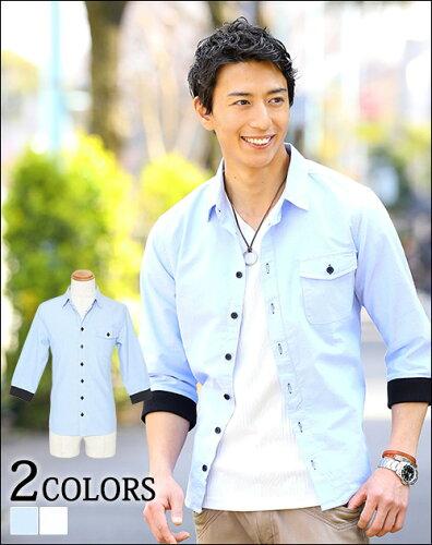 シャツ メンズ カジュアルシャツ 襟付きシャツ 半袖 7分袖 無地 春 メンズファッション