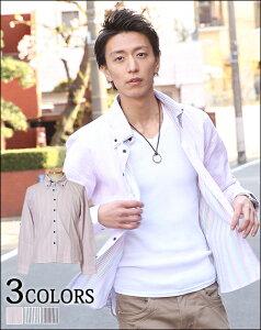 ストライプシャツ トップス カジュアルシャツボタンダウン メンズファッション【再入荷依頼当店...