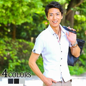 シャツ メンズ カジュアルシャツ 半袖 メンズファッション クールマックス素材ドライ加工ボタンダウン半袖シャツ