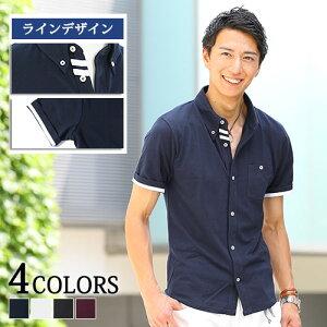 ポロシャツ メンズ 半袖 ラインデザイン前開き半袖ポロシャツ M/L/LL ホワイト ブラック チャコール ネイビー サックス 父の日 ギフト プレゼント