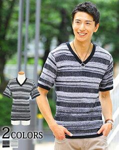 サマーニット メンズ ニット vネック ケーブル編み メンズファッション