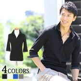 【送料無料】 ポロシャツ メンズ 7分袖 ドット 七分袖 カジュアル