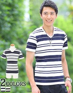 カットソー メンズ カジュアル 半袖 vネック ボーダーシャツ カジュアルシャツ