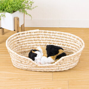 ペットバスケット ベッド 猫 犬 かご バスケット カゴ 籠 編み 込んでます♪ auktnメイズ製ペ...