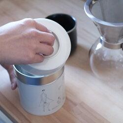 mercatoオリジナルコーヒー缶【キャニスター保存容器缶コーヒー缶紅茶缶収納ホワイトコーヒー紅茶お茶食品ブリキmaboイラスト白シンプルおしゃれ日本製】
