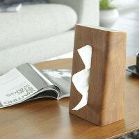 木製ティッシュケース/リンRIN(ブラウン)