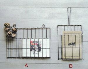 ワイヤーレターラック A Bタイプ アンティーク風 90950011 90950012 レターラック レターホルダー 収納 壁面 玄関 リビング